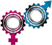 Symbole płci męskiej i żeńskiej - metalowe koła zębate — Zdjęcie stockowe
