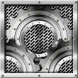 Metal Gears on Metal Grid Background - Stock Photo