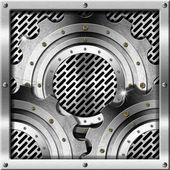 Metallgetriebe auf metallgitter-hintergrund — Stockfoto