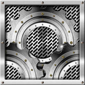 металлические шестерни на фоне металлической сетки — Стоковое фото