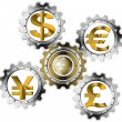 Euro Dollars Pound Yen Industrial Gears — Stock Photo #25147587