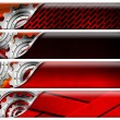 Stock Photo: Four Industrial Red and Metal Headers