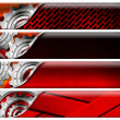 Four Industrial Red and Metal Headers - Stock Photo