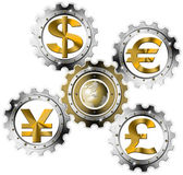 Euro Dollars Pound Yen Industrial Gears — Stock Photo