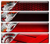 čtyři průmyslové červené a kovových záhlaví — Stock fotografie