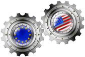 USA and Europe Flags on a Gears — Stock Photo