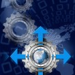 Blue and Metal Industrial Gears Background — Stok fotoğraf