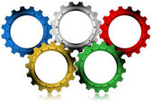Olympic Gears - Concept of Global Industrialization — Stock Photo