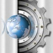 Metal Gears and Globe Industrial Template — Stock Photo