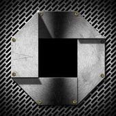Hexagonal Grunge Metal Porthole — Stock Photo
