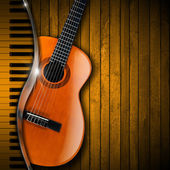 Acoustic Guitar and Piano Wood Background — Stock Photo