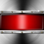 Metal Background with Red Screen — Stock Photo