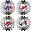 USA Canada UK Italy Gears Metal Flags — Stock Photo