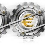 Euro Dollars Pound Yen Locomotive Gears — Stock Photo #25614565