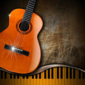 Acoustic Guitar and Piano Grunge Background — Stock Photo