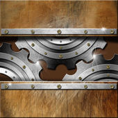 Metal Gears on Grunge Background — Stock Photo