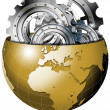 Golden Earth Globe with Metal Gears — Stock Photo #25920399