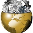 Golden Earth Globe with Metal Gears — Stock Photo