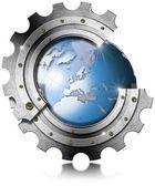 Niebieski ziemskiej wewnątrz duże metalowe narzędzia — Zdjęcie stockowe