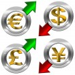 Currency with Positive and Negative Arrow — Stock Photo