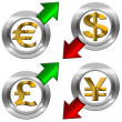Currency with Positive and Negative Arrow — Stock Photo #26042441