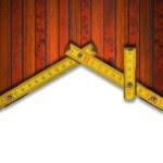 fundo de casa - ferramenta de medidor de madeira — Foto Stock