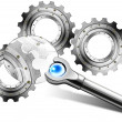 Stock Photo: Gears in Magnifying Glass