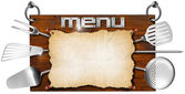 Menu Wooden Signboard — Stock Photo