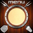 Wooden Menu with Metal Porthole — Stock Photo