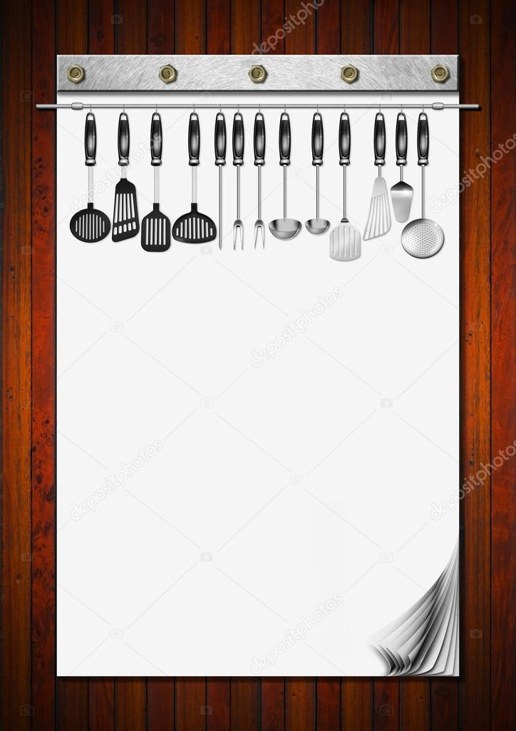 Cahier vierge avec ustensiles de cuisine photographie for Cahier de cuisine vierge