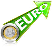 Euro Growth - Positive Green Arrow — Stock Photo