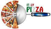 Italien pizza på fräs för pizza — Stockfoto