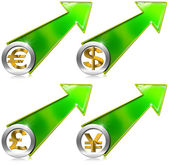 Dollars Pound Euro Yen Growth Positive Arrow — Stock Photo