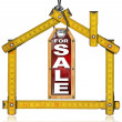 House For Sale - Wood Meter Tool — Foto de Stock