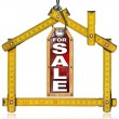 House For Sale - Wood Meter Tool — Stock Photo