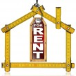 House For Rent - Wood Meter Tool — Zdjęcie stockowe