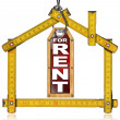 House For Rent - Wood Meter Tool — Stock Photo