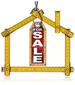 House For Sale - Wood Meter Tool — Stok fotoğraf