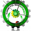 Stock Photo: Time to Go Green - Metallic Gear