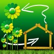 Ecologic House with Green Flowers — Foto Stock
