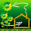 Ecologic House with Green Flowers — Stockfoto