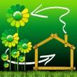 casa ecológica com flores verdes — Foto Stock