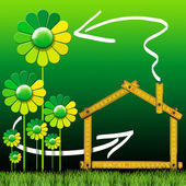 Ecologic House with Green Flowers — Stock Photo