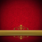Luxury Floral Red and Gold Velvet Background — Stock Photo