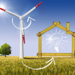 Stock Photo: Ecologic House - Wind Energy Concept