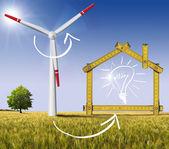 Dom ekologiczny - koncepcja energii wiatru — Zdjęcie stockowe
