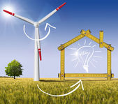 Ecologic House - Wind Energy Concept — 图库照片