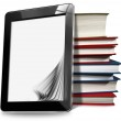 Tablet Computer with Pages and Books — Stock Photo