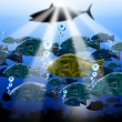 Sea Abyss Stylized Fish Background — Stock Photo