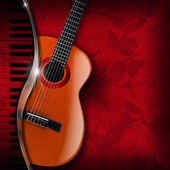Acoustic Guitar and Piano Red Flowers — Stock Photo